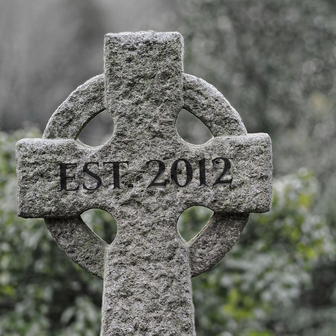 """A gravestone marked with """"Est. 2012"""""""