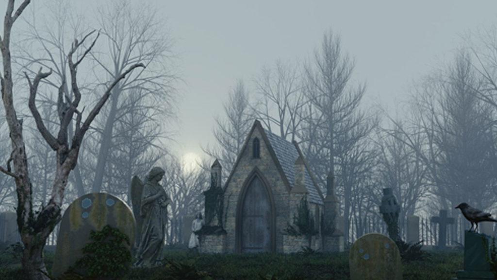 A foggy cemetery