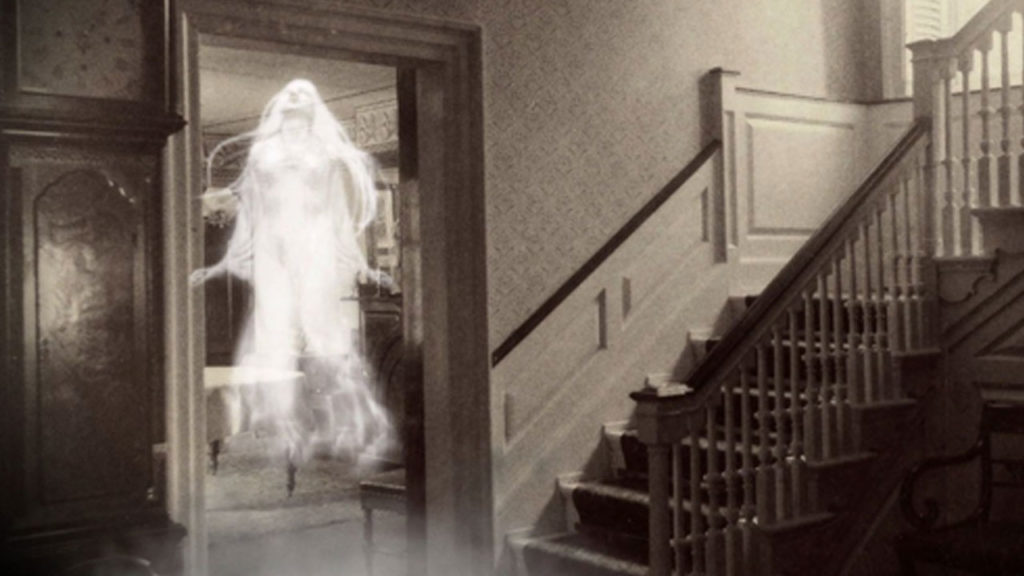 An apparition floating in the doorway.