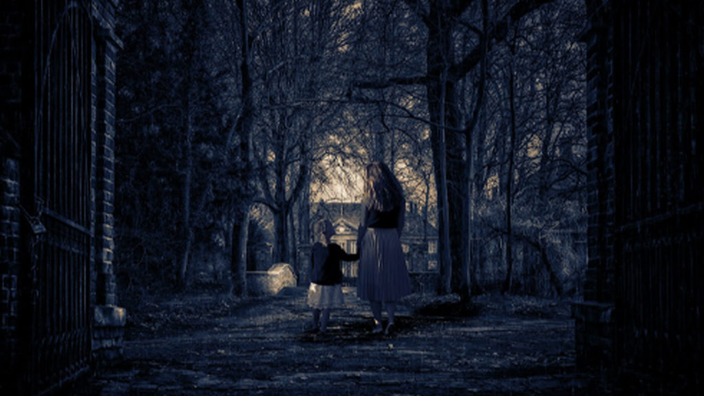 Two young ghosts wandering the woods.