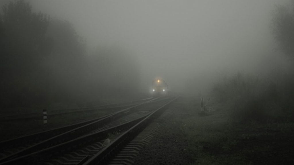 A train coming through the fog.