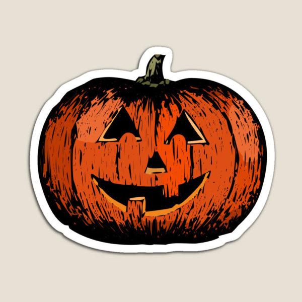 A vintage happy Halloween pumpkin magnet.